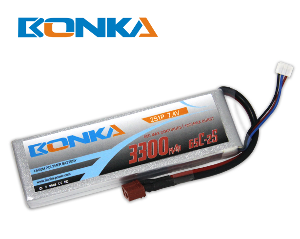 Bonka 3300mAH 65C 2S1P 7.4V Lipo battery Packs-R/C Heli