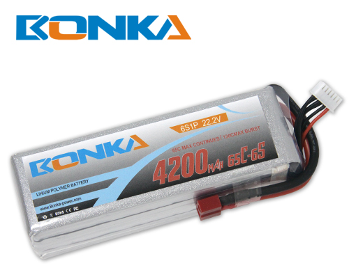 Bonka 4200mAH 65C 6S1P 22.2V Lipo battery Packs-R/C Heli