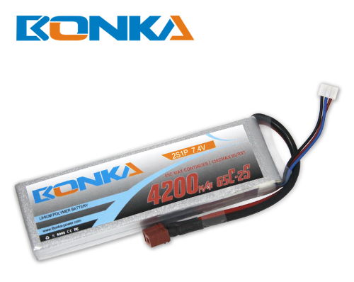 Bonka 4200mAH 65C 2S1P 7.4V Lipo Battery Packs-R/C Heli