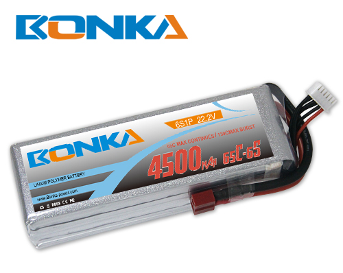 Bonka 4500mAH 65C 6S1P 22.2V Lipo Battery Packs-R/C Heli