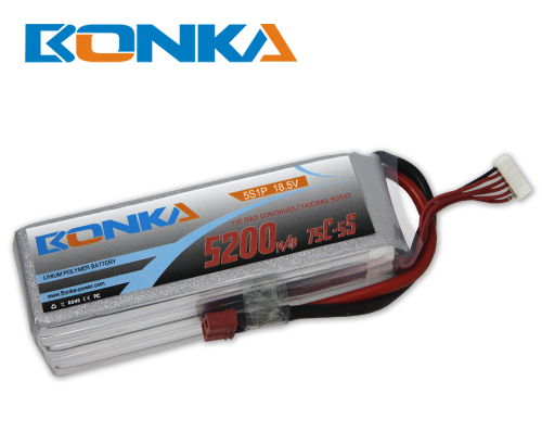 Bonka 5200mAH 75C 5S1P 18.5V Lipo battery Packs-R/C Heli