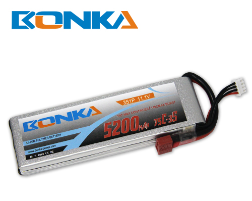 Bonka 5200mAH 75C 3S1P 11.1V Lipo battery Packs-R/C Heli