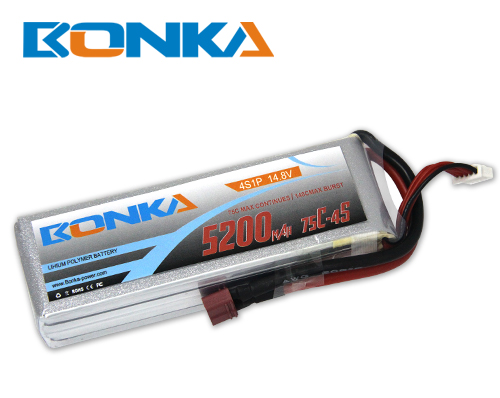 Bonka 5200mAH 75C 4S1P 14.8V Lipo battery Packs-R/C Heli