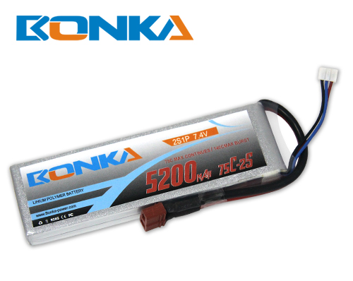 Bonka 5200mAH 75C 2S1P 7.4V Lipo battery Packs-R/C Heli