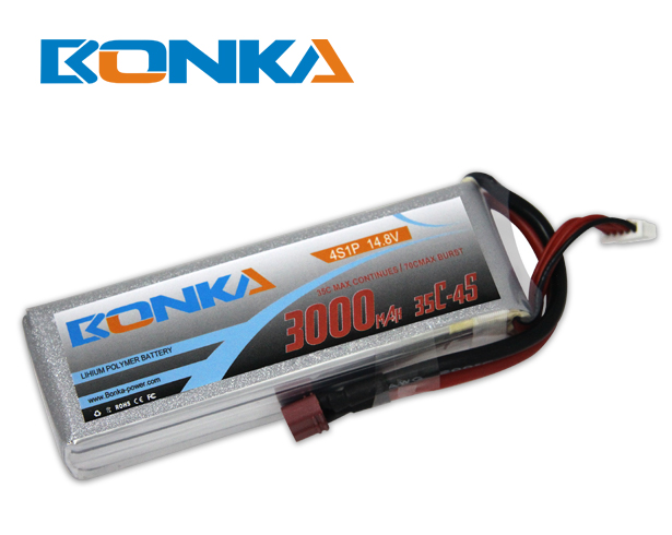 Bonka 3000mAh 35C 4S1P 14.8V Lipo Battey Packs-RC/ Heli