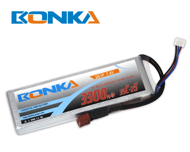 Bonka 3300mAh 35C 2S1P 7.4V Lipo Battey Packs-RC/ Heli
