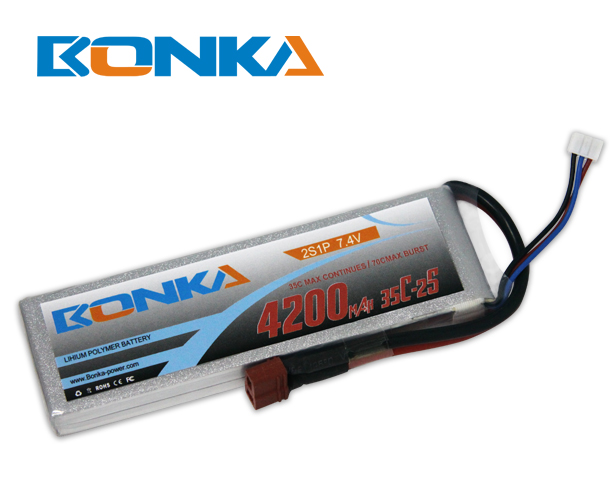 Bonka 4200mAh 35C 2S1P 7.4V Lipo Battey Packs-RC/ Heli