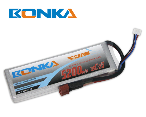 Bonka 5200mAh 35C 2S1P 7.4V Lipo Battey Packs-RC/ Heli