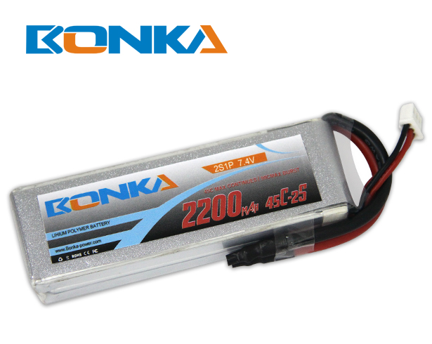 Bonka 2200mAh 45C 2S1P 7.4V Lipo Battey Packs-RC/ Heli