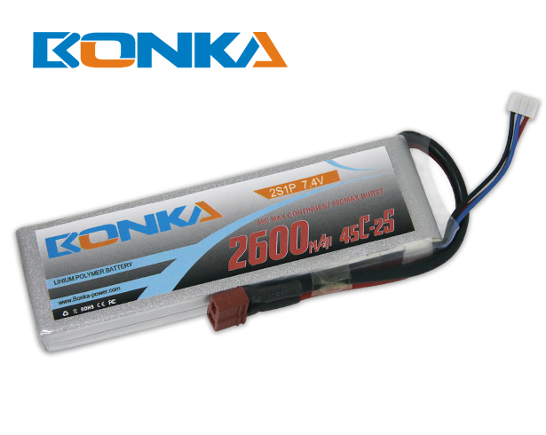 Bonka 2600mAh 45C 2S1P 7.4V Lipo Battey Packs-RC/ Heli