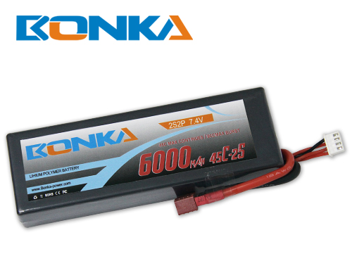 Bonka 6000mAH 45C 2S2P 7.4V  Lipo battery Packs-R/C Car