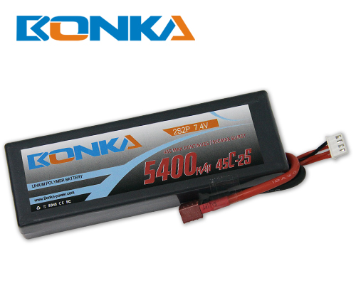 Bonka 5400mAH 45C 2S2P 7.4V  Lipo battery Packs-R/C Car