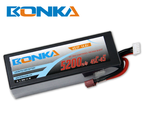 Bonka 5200mAH 45C 4S1P 14.8V  Lipo battery Packs-R/C Car