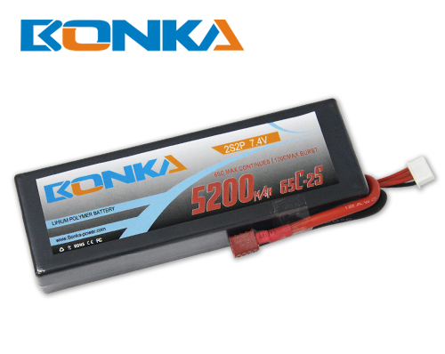 Bonka 5200mAH 65C 2S2P 7.4V  Lipo battery Packs