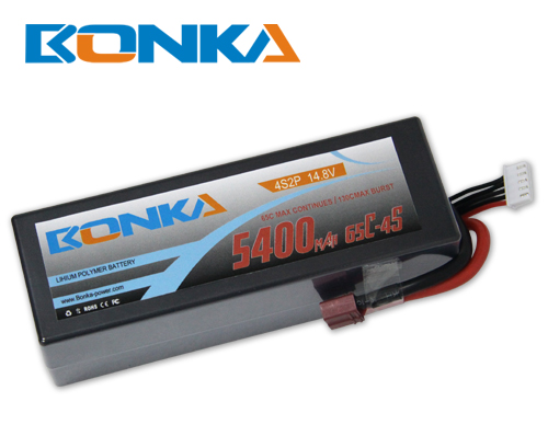 Bonka 5400mAH 65C 4S2P 14.8V  Lipo battery Packs
