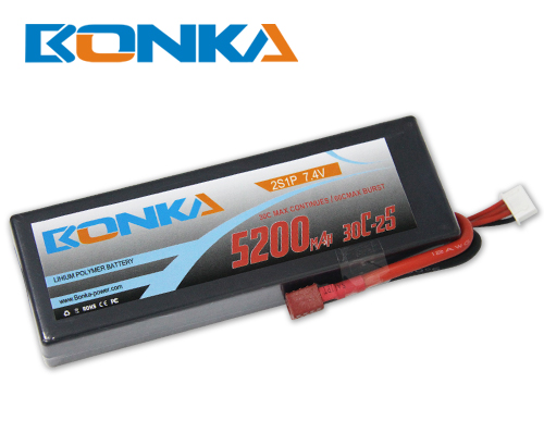 Bonka 5200mAH 30C 2S1P 7.4V Lipo battery Packs-R/C Car