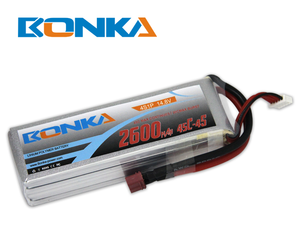 Bonka 2600mAh 45C 4S1P 14.8V Lipo Battey Packs-RC/ Heli