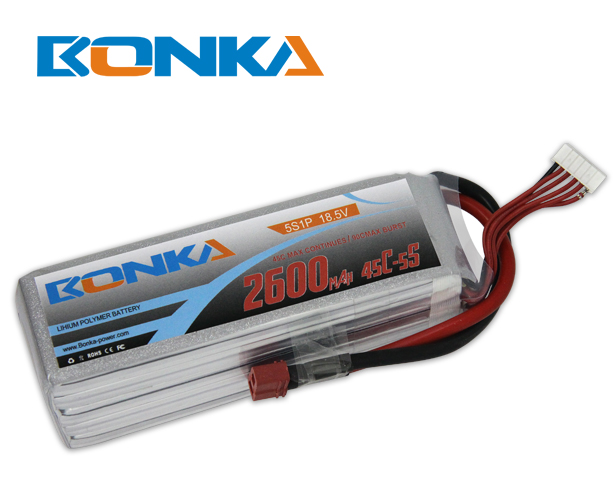 Bonka 2600mAh 45C 5S1P 18.5V Lipo Battey Packs-RC/ Heli