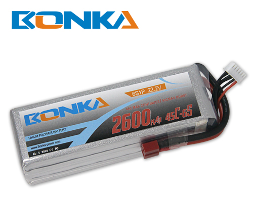 Bonka 2600mAh 45C 6S1P 22.2V Lipo Battey Packs-RC/ Heli