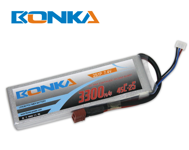 Bonka 3300mAh 45C 2S1P 7.4V Lipo Battey Packs-RC/ Heli