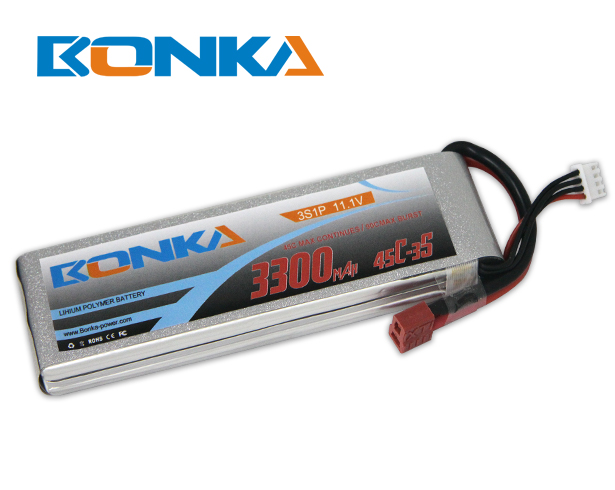 Bonka 3300mAh 45C 3S1P 11.1V Lipo Battey Packs-RC/ Heli