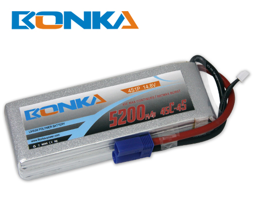 Bonka 5200mAh 45C 4S1P 14.8V Lipo Battey Packs-RC/ Heli