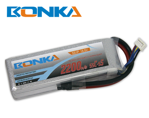 Bonka 2200mAh 55C 5S1P 18.5V Lipo Battey Packs-RC/ Heli