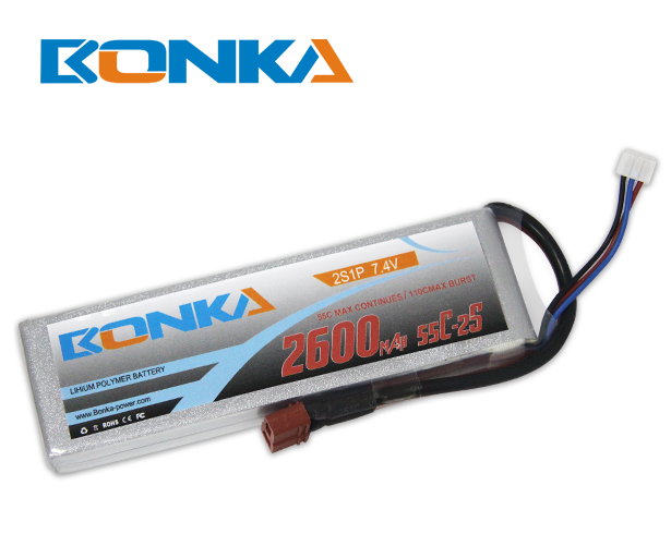 Bonka 2600mAh 55C 2S1P 7.4V Lipo Battey Packs-RC/ Heli