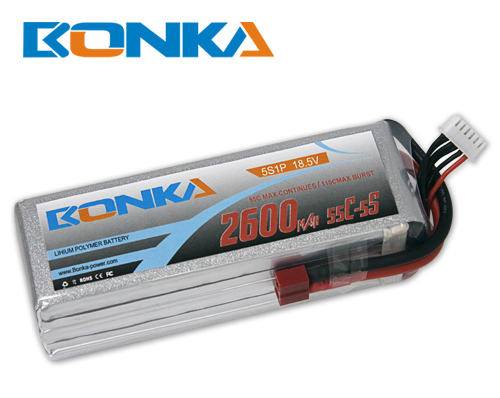 Bonka 2600mAh 55C 5S1P 18.5V Lipo Battey Packs-RC/ Heli