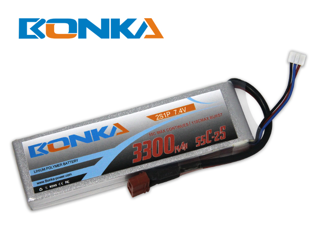 Bonka 3300mAh 55C 2S1P 7.4V Lipo Battey Packs-RC/ Heli