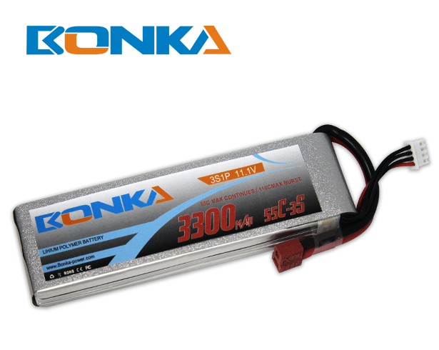 Bonka 3300mAh 55C 3S1P 11.1V Lipo Battey Packs-RC/ Heli