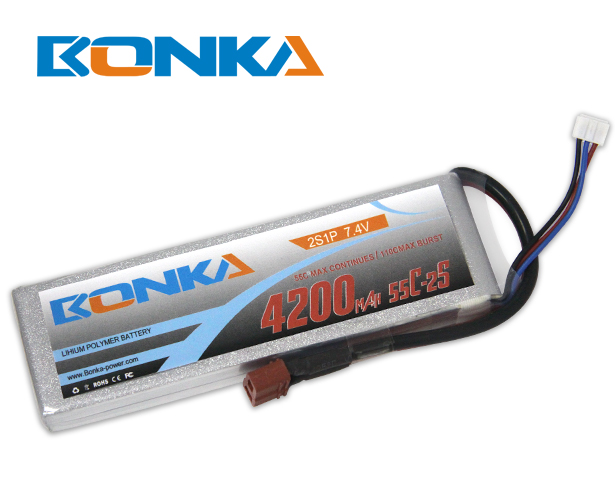 Bonka 4200mAh 55C 2S1P 7.4V Lipo Battey Packs-RC/ Heli