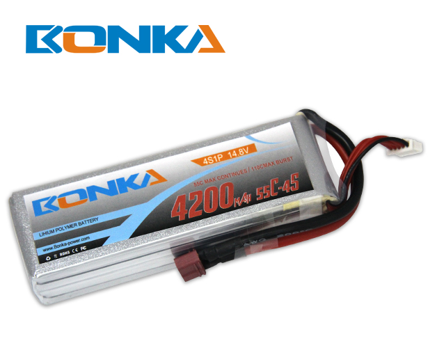 Bonka 4200mAh 55C 4S1P 14.8V Lipo Battey Packs-RC/ Heli