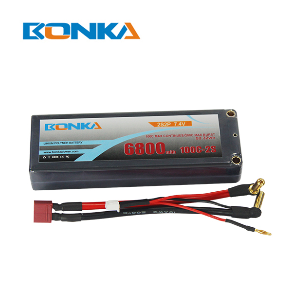 Bonka 6800mAH 100C 2S2P 7.4V  Lipo battery Packs-R/C Car