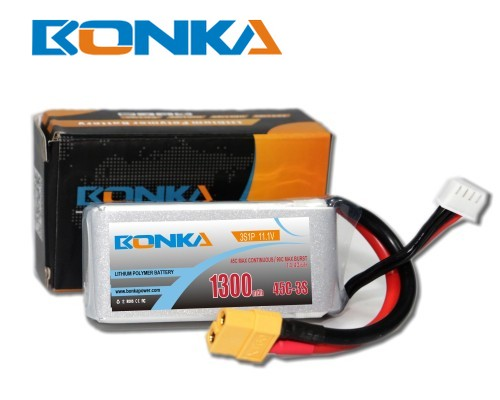 Bonka 1300mAh 45C 3S1P 11.1V  LiPo Battery Packs for FPV Qua
