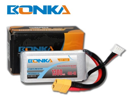 Bonka 1300mAh 45C 4S1P 14.8V  LiPo Battery Packs for FPV Qua