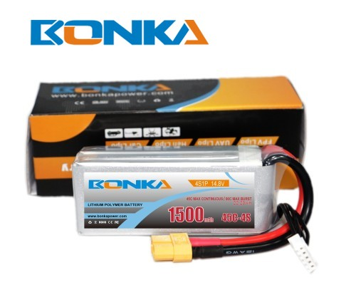 Bonka 1500mAh 45C 4S1P 14.8V  LiPo Battery Packs for FPV Qua