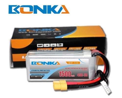 Bonka 1500mAh 45C 3S1P 11.1V  LiPo Battery Packs for FPV Qua