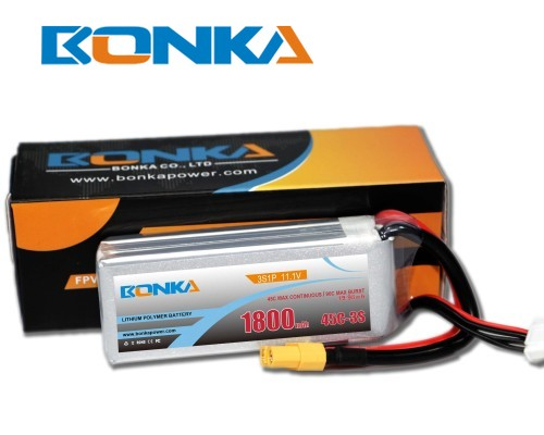 Bonka 1800mAh 45C 3S1P 11.1V  LiPo Battery Packs for FPV Qua