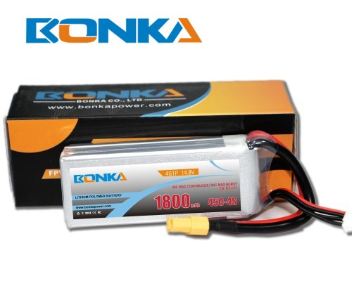 Bonka 1800mAh 45C 4S1P 14.8V  LiPo Battery Packs for FPV Qua